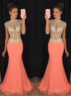Stunning High-Neck Crystal Prom Dresses 2020 Mermaid Long Chiffon Party Gown TD036 AP0_1