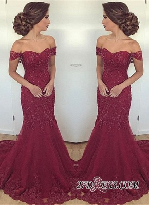 Off-the-Shoulder Mermaid Long Glamorous Burgundy Lace Appliques Evening Dress_2