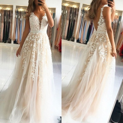 Elegant V-Neck Sleeveless Prom Dresses | 2020 Long Lace Evening Gowns On Sale_4