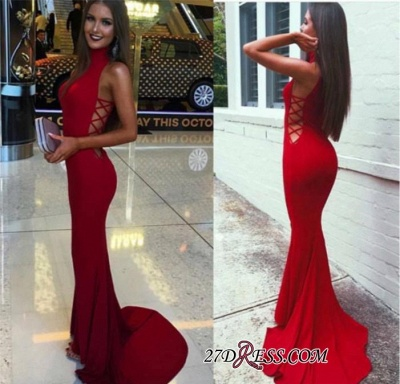 Red Sleeveless High-Neck Mermaid Sexy Sweep-Train Prom Dress BA4418_3