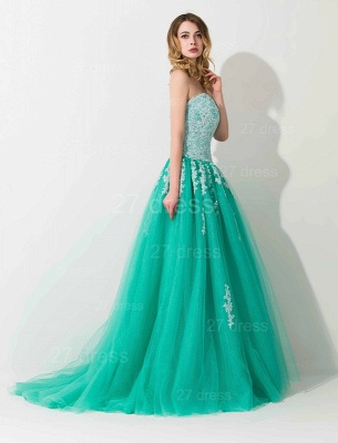 Modern Sweep Train Lace Appliques Evening Dress Princess Tulle Sleeveless_2