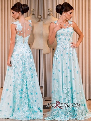 Sleeveless long prom dress, evening dress with appliques_4