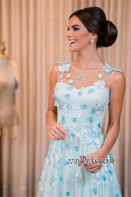 Sleeveless long prom dress, evening dress with appliques_3