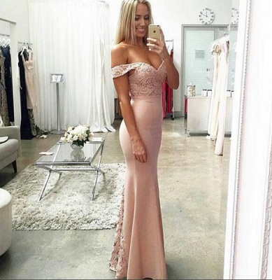 Newest Off-the-shoulder Mermaid 2020 Prom Dress Lace Floor-length_3