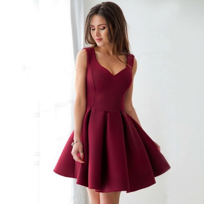 Cheap Burgundy Straps A-line Homecoming Dress | Sleeveless Short Party Gown_2