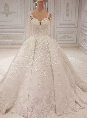 2020 Romantic Sweetheart Long Sleeve Bridal Gown | Lace Appliques Wedding Dress On Sale_1