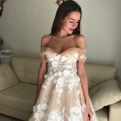 Elegant Off-the-Shoulder Long Wedding Dresses | 2020 Tulle Lace-Up Bridal Gowns On Sale BC1061_3