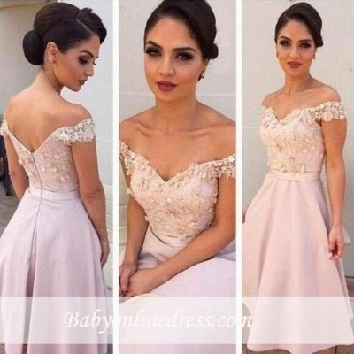 Short Lace Glamorous Off-the-Shoulder Bridesmaids Dress_3
