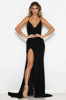 2020 Modest Halter Mermaid Sleeveless Sweep Train Prom Dress | Black Front Split Backless Evening Gown BC0542_1