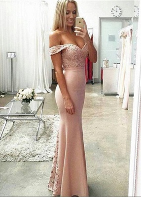 Newest Off-the-shoulder Mermaid 2020 Prom Dress Lace Floor-length_1