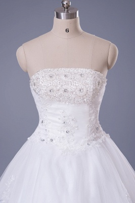 Elegant Strapless Sleeveless Wedding Dress Ball Gown With Lace Beadings_4