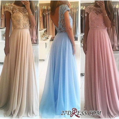 Lace A-line Chiffon Short-Sleeves Chic Floor-length Evening Dress_3