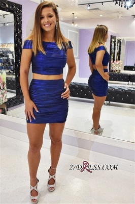 Sheath Off-the-shoulder Short Excellent Two-Pieces Cocktail Dresses_2
