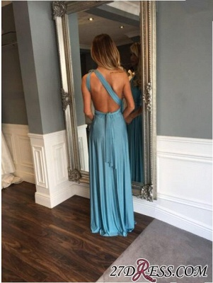 Crystals Modest Long Sleeveless A-line One-Shoulder Prom Dress_2