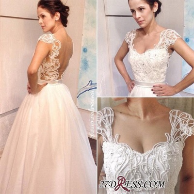 Straps Elegant Backless A-line White Pearls Floor-length Wedding Dress_2