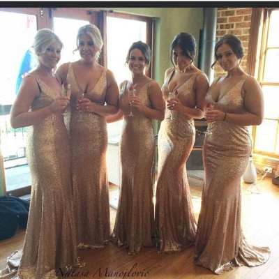 Stunnning V-Neck Sequins Gold Bridesmaid Dresses 2020 Plus Size Long Floor Length_4