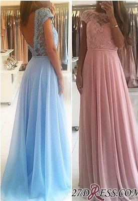 Lace A-line Chiffon Short-Sleeves Chic Floor-length Evening Dress_2