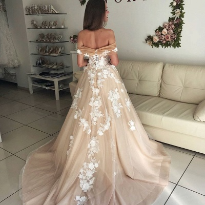 Elegant Off-the-Shoulder Long Wedding Dresses | 2020 Tulle Lace-Up Bridal Gowns On Sale BC1061_4