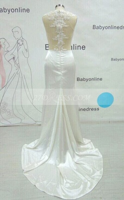 Sexy Gorgeous Mermaid Prom Dress Long Lace Sleeveless Evening Party Gowns_3