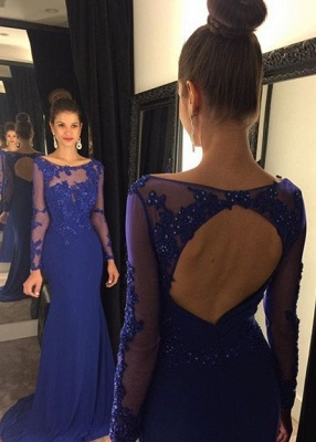 Elegant Lace Appliques Sequined Evening Dress 2020 Mermaid Long Sleeve AP0_2