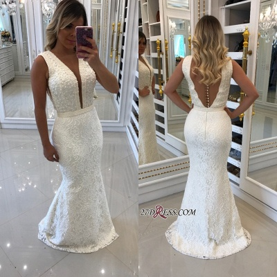 White pearls evening dress, 2020 mermaid prom dresses_2