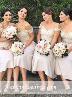 Short Lace Glamorous Off-the-Shoulder Bridesmaids Dress_4