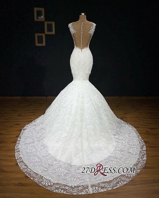 Gorgeous Buttom Appliques Covered Sleeveless Scoop Wedding Dresses_3