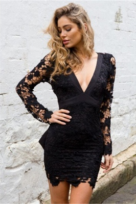Sexy Black Short V-neck Homecoming Dress | Long Sleeve Homecoming Dress_1