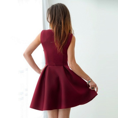 Cheap Burgundy Straps A-line Homecoming Dress | Sleeveless Short Party Gown_3