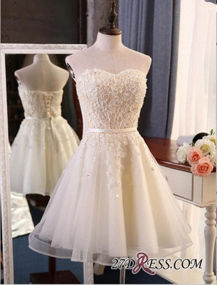 Lace Sweetheart Sleeveless Appliques Flowers Mini Delicate Homecoming Dress_4