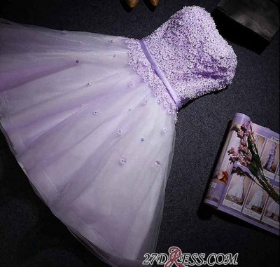 Lace Sweetheart Sleeveless Appliques Flowers Mini Delicate Homecoming Dress_3