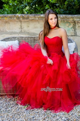 Sleeveless Red Strapless Flowers Tulle Ruched Lace Wedding Dress_5