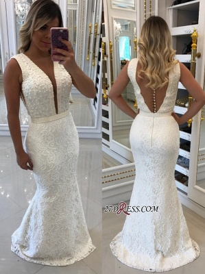 White pearls evening dress, 2020 mermaid prom dresses_3