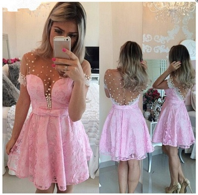 Lovely Pink Cap Sleeve 2020 Homecoming Dress Lace Pearls BT0_3