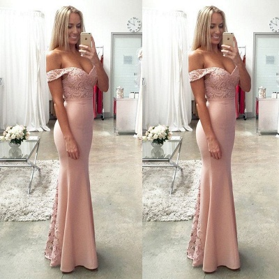 Newest Off-the-shoulder Mermaid 2020 Prom Dress Lace Floor-length_4