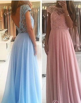 Lace A-line Chiffon Short-Sleeves Chic Floor-length Evening Dress_4
