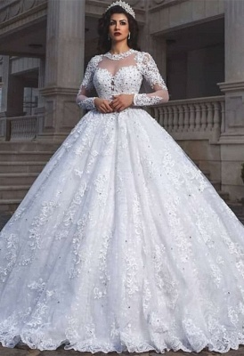 Glamorous Long Sleeve 2020 Wedding Dresses | Lace Ball Gown Bridal Wears_1