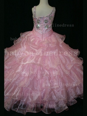 Crystal Girls Ball Gown Pageant Dresses Affordable Beauty Gownss Wholesale 2020 Beaded Layered_3