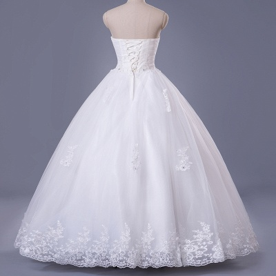 Elegant Strapless Sleeveless Wedding Dress Ball Gown With Lace Beadings_3