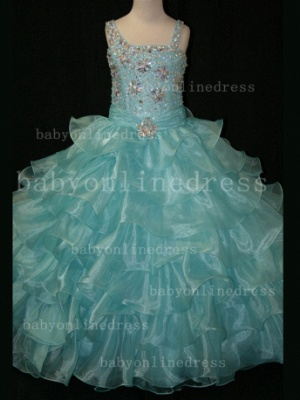 Crystal Girls Ball Gown Pageant Dresses Affordable Beauty Gownss Wholesale 2020 Beaded Layered_6