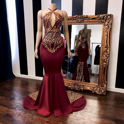 Chic Burgundy Halter Prom Dresses   2020 Mermaid Gold Appliques Evening Gowns BC1302_2