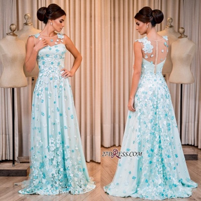 Sleeveless long prom dress, evening dress with appliques_1