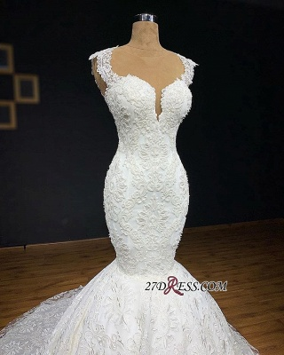 Gorgeous Buttom Appliques Covered Sleeveless Scoop Wedding Dresses_1