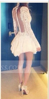 Sexy Lace See Through Homecoming Dresses High Neck Short Zipper Spring Cocktail Dresses 2020 with Appliques_2