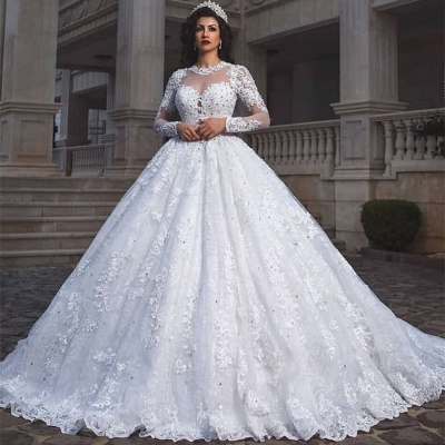 Glamorous Long Sleeve 2020 Wedding Dresses | Lace Ball Gown Bridal Wears_2