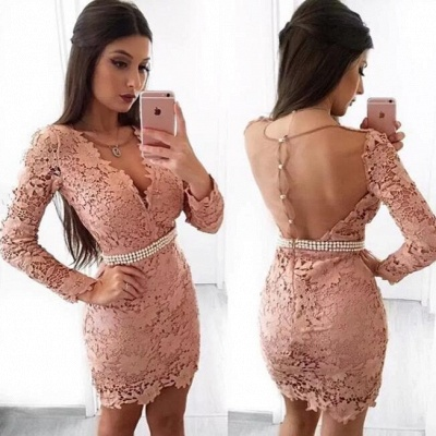 Beautiful Long Sleeve Homecoming Dress   2020 Mermaid Lace Short Party Dress With Pearls_3