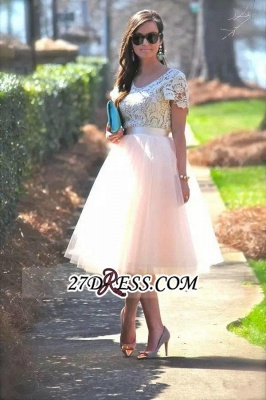 Lace Tulle Short-Sleeves A-Line Tea-Length Homecoming Dress_3