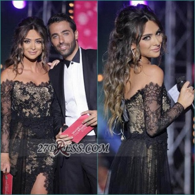 Evening Black Lace Long Sleeve Prom Dress Lovely V-neck Long Chiffon Gowns_2
