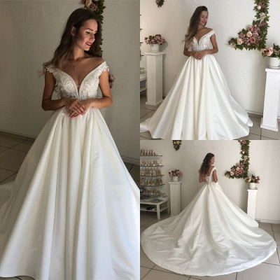 Glamorous Off-the-Shoulder 2020 Wedding Dresses | Satin Lace-up Bridal Gowns_4