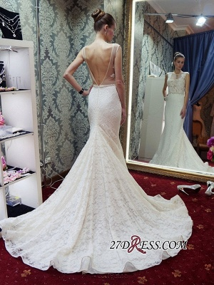 Lace Sleeveless Gorgeous Zipper Mermaid Backless Wedding Dress_3